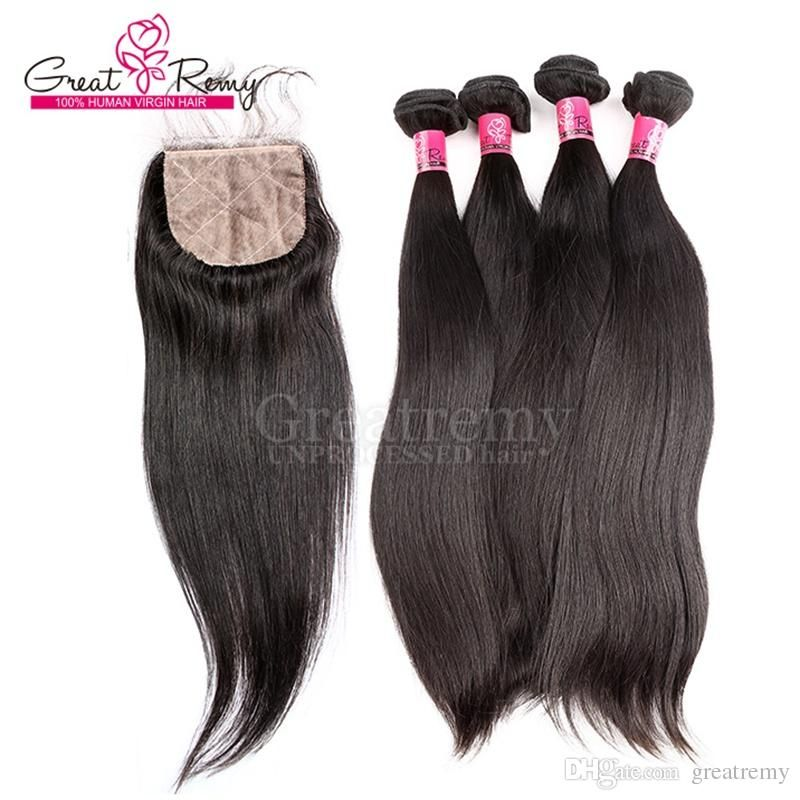 4pcslot Straight Brazilian Hair With Silk Base Top Closure Baby