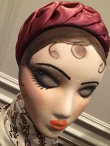Hand Painted Styrofoam Female Head Mannequin With Vintage Hat And Scarf Mannequin Art Styrofoam Head Hats Vintage