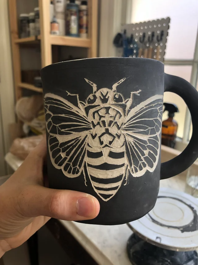 (1) First time sgraffito! Hand built porcelain mug and black underglaze. : Pottery