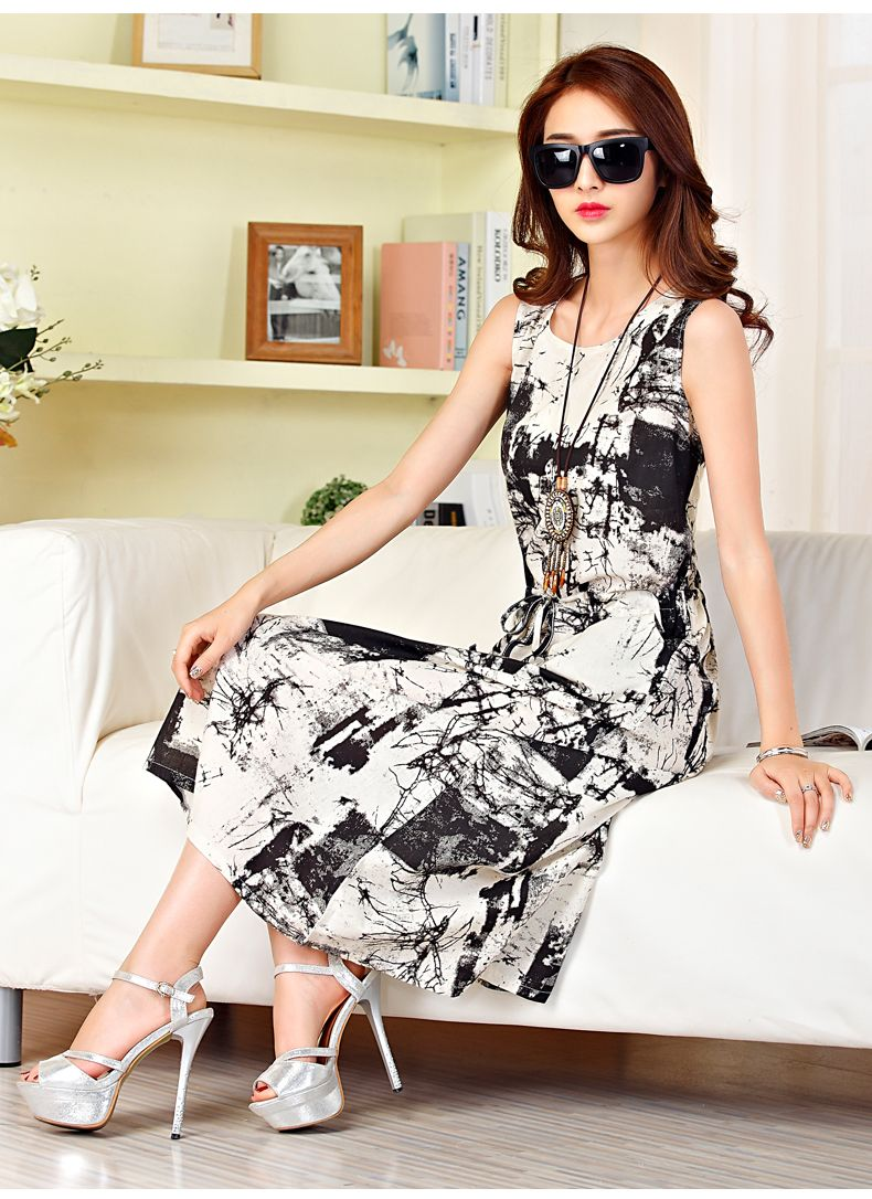 Sleeveless long summer dress latest cotton long casual dresses for