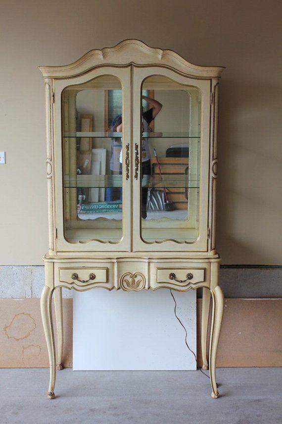 french provincial curio cabinet vintage beigeanmantiques
