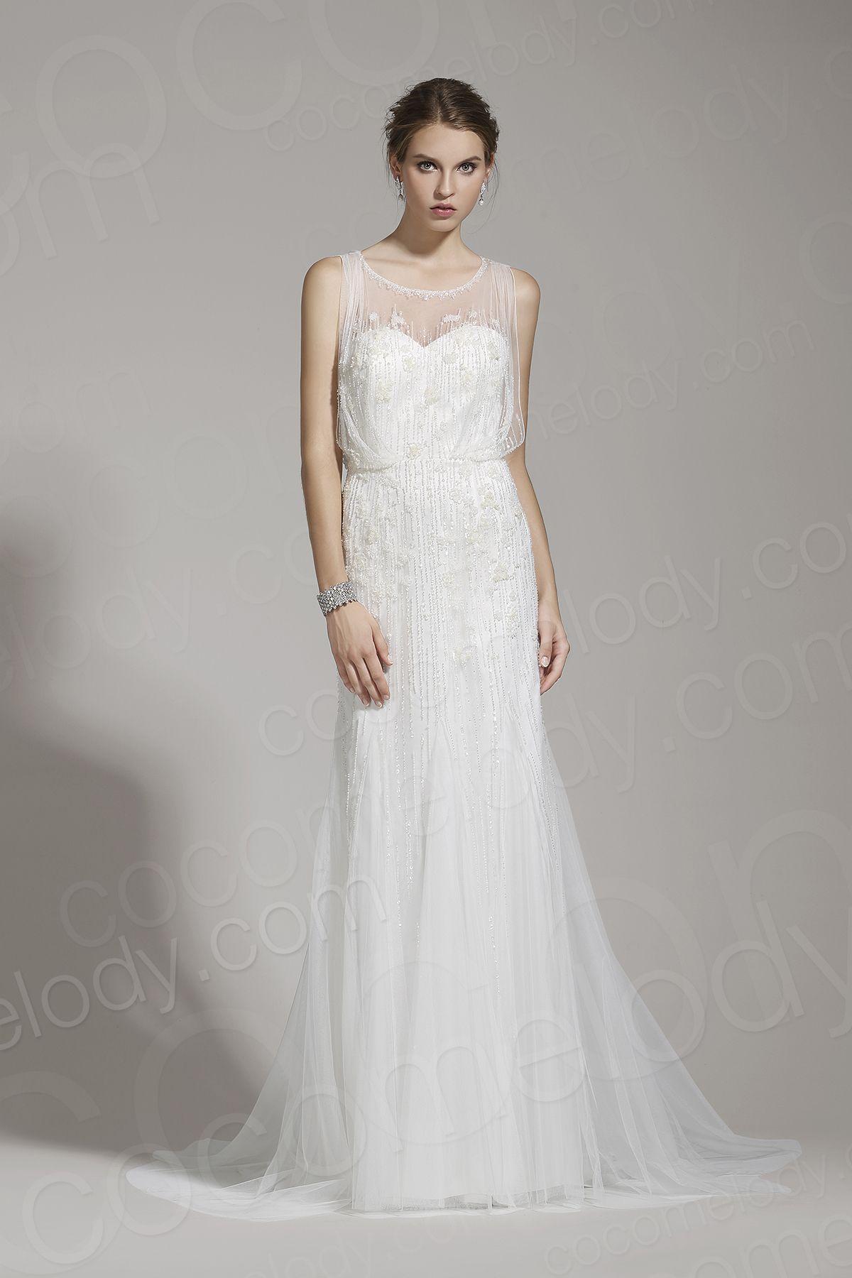 Beaded sheath wedding dress  Delicate SheathColumn Illusion Tulle Ivory Sleeveless Wedding Dress
