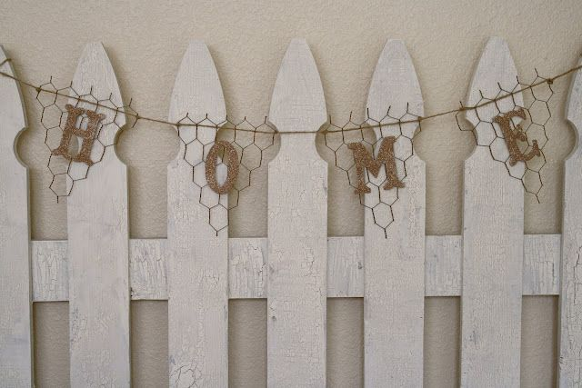 chicken wire pennant banner--I like the chicken wire look, but I can