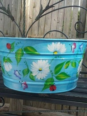 10 Gallon Galvanized Bucket Painted Trash Cans Decorative Painting Hand Painted