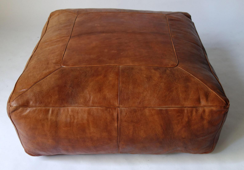 Large Square Moroccan Leather Pouf Etsy Moroccan Leather Pouf