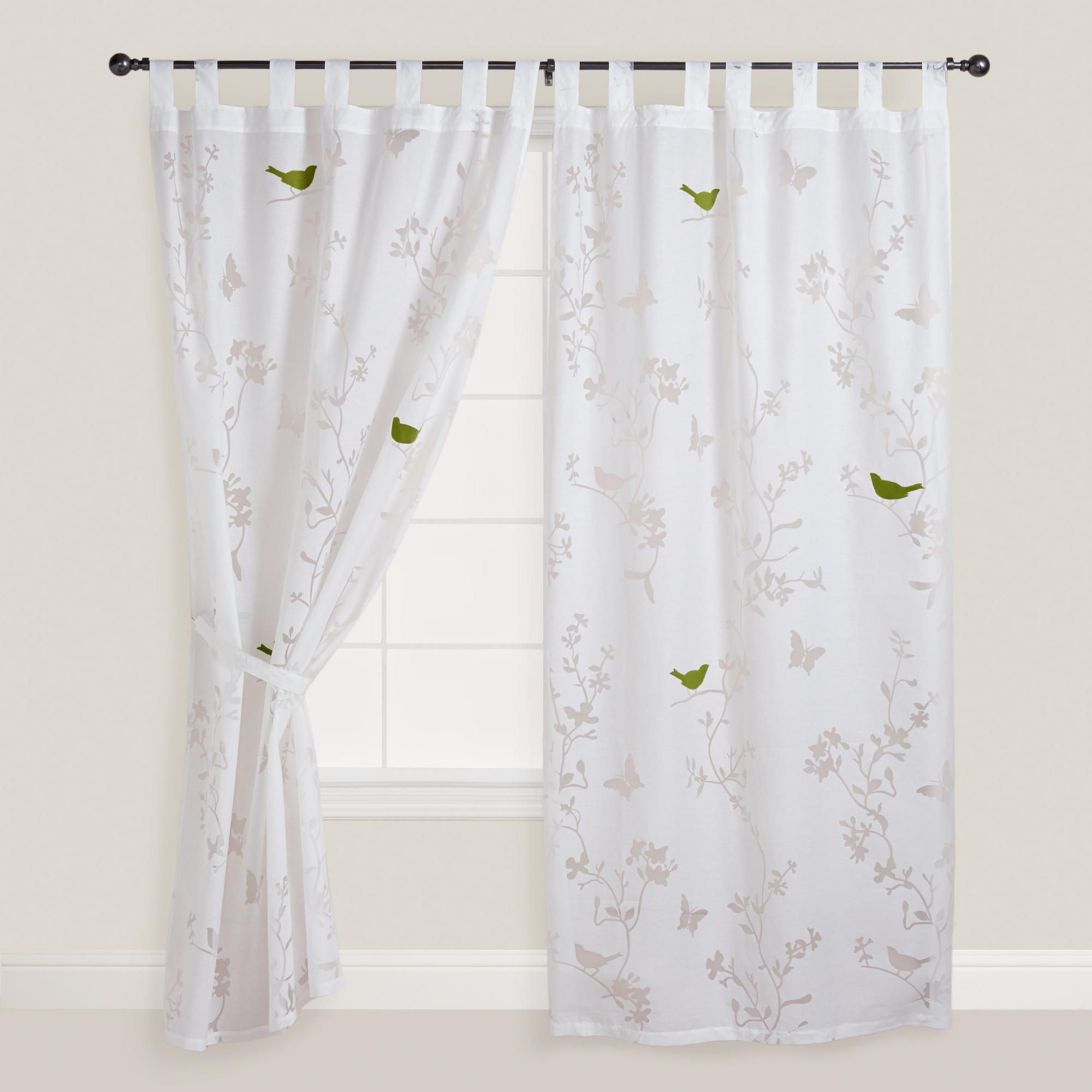 Bird sheer curtains - White Bird And Botanical Burnout Curtain Panel World Market