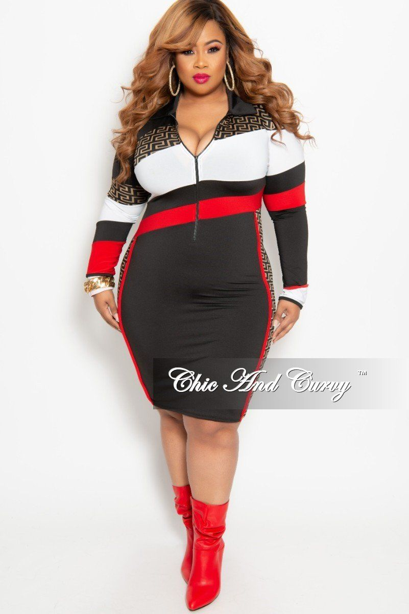 91fecba9010 Plus Size Long Sleeve Zip-Up Maze Print BodyCon Dress in Black Red – Chic