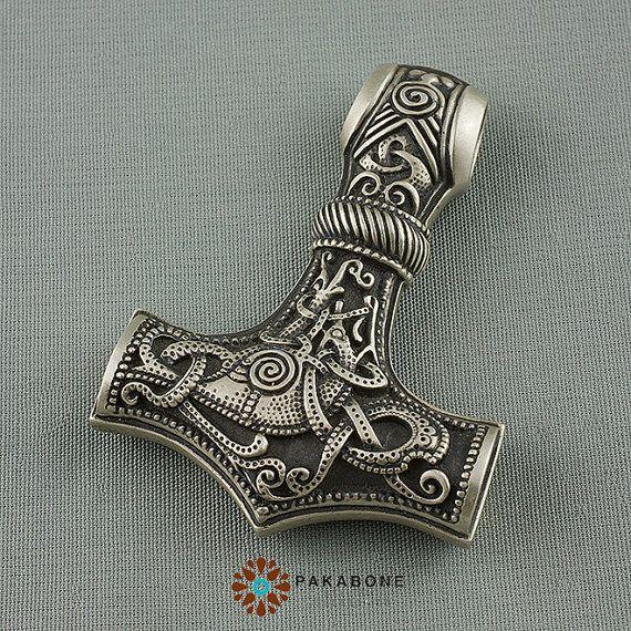 Pendant Big Thor's Hammer Mjollnir Mjolnir Mjölnir, Sterling Silver. PAKABONE.