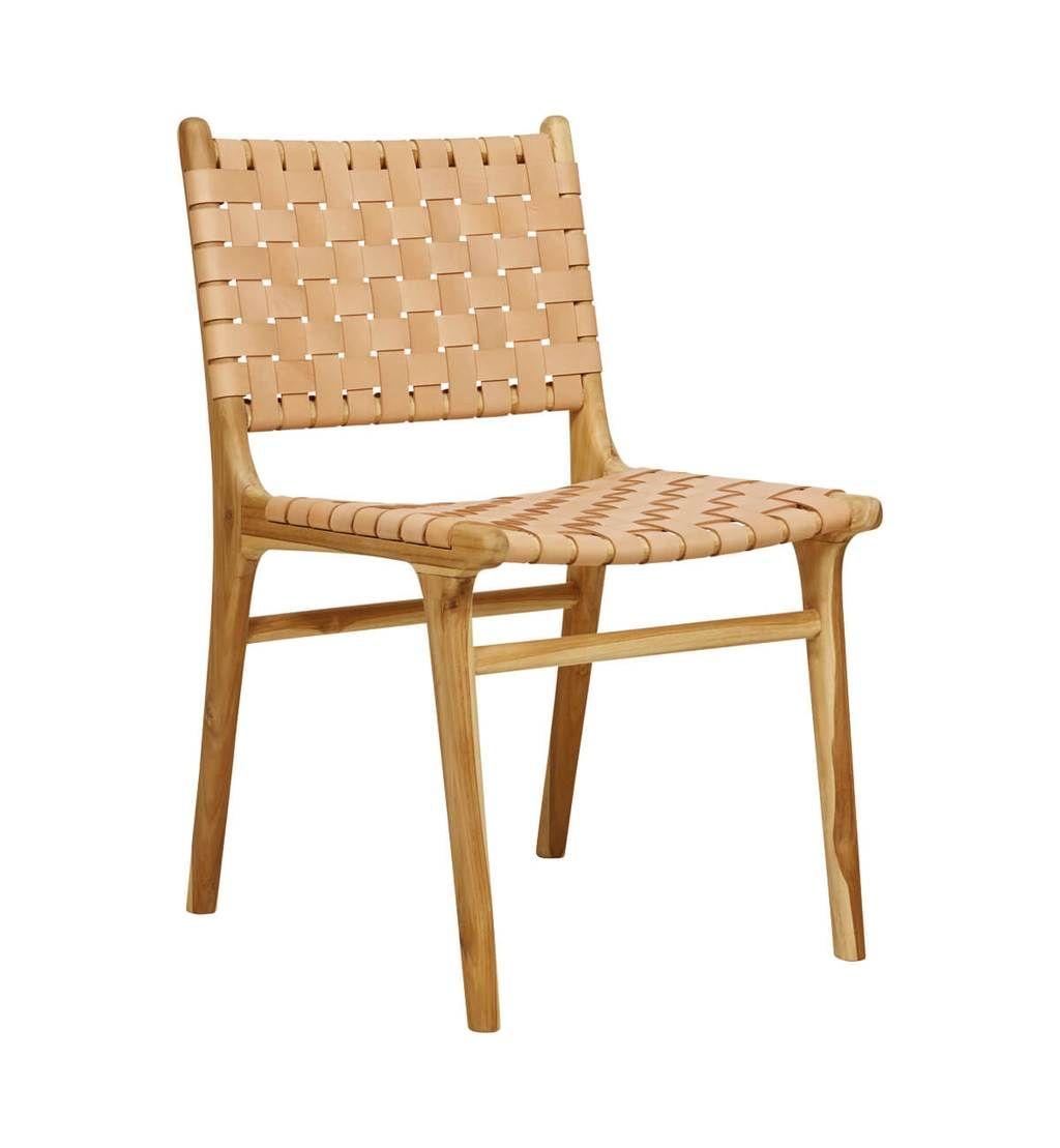 Fenton fenton leather strapping dining chair teak