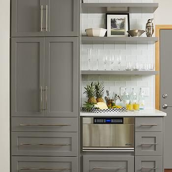 Traditional kitchen with shaker cabinets and floating for Benjamin moore chelsea gray kitchen