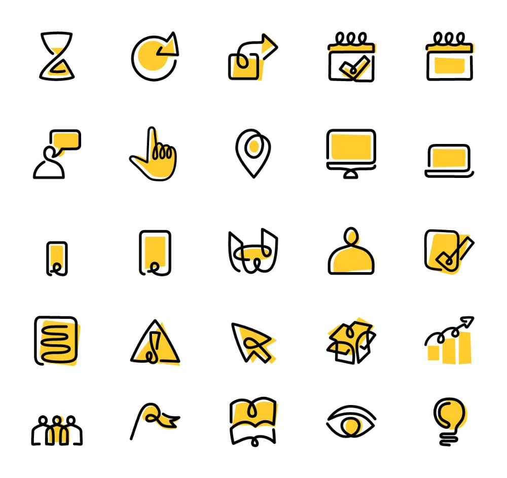 Yellow Pages Iconography Design And Illustrations Loogart Pictogram Design App Icon Design Flat Design Icons