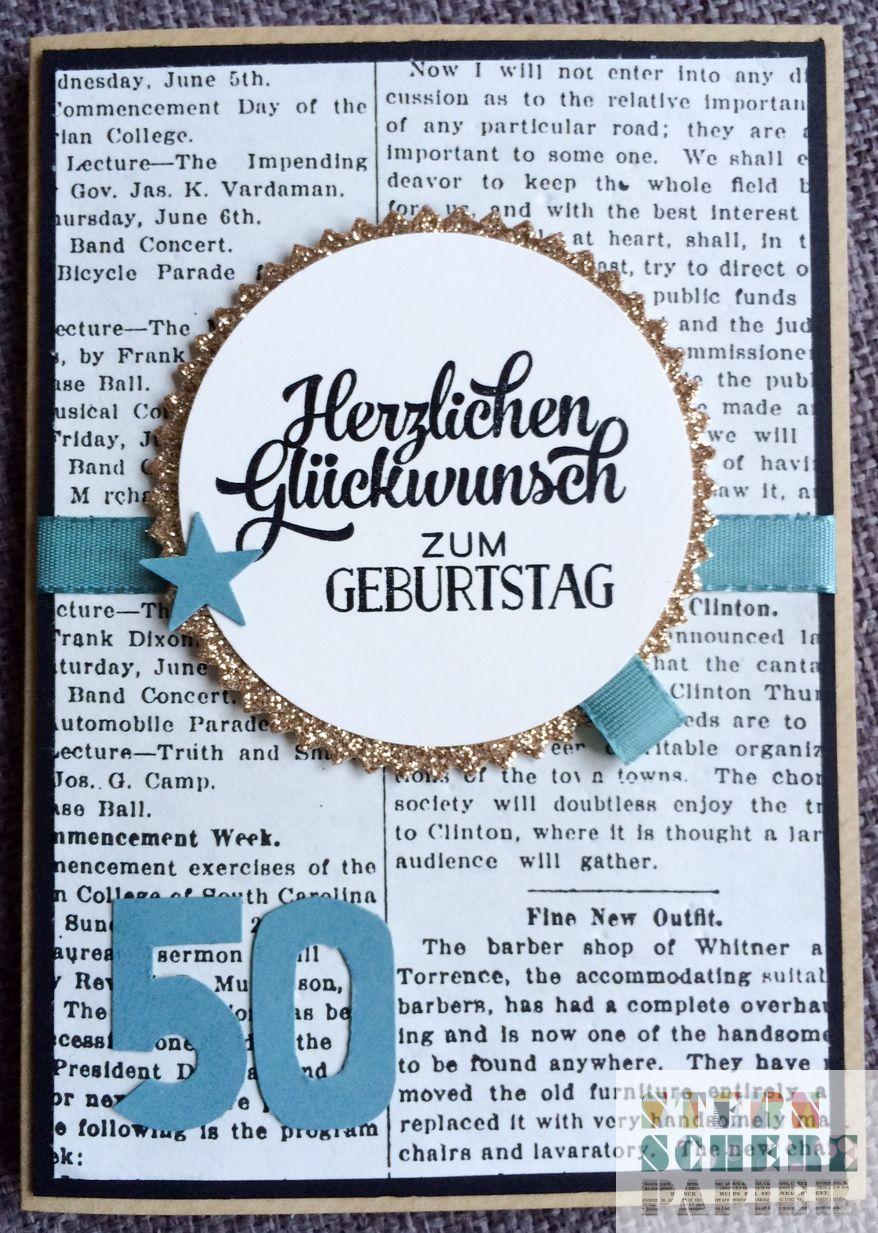 Karte zum 50 Geburtstag  sternscherepapier  Pinterest