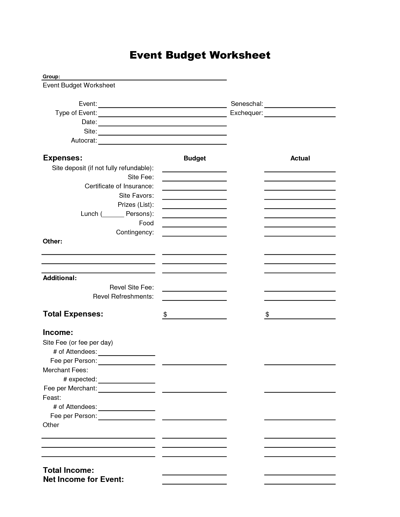 Girl Scout Trip Budget Form