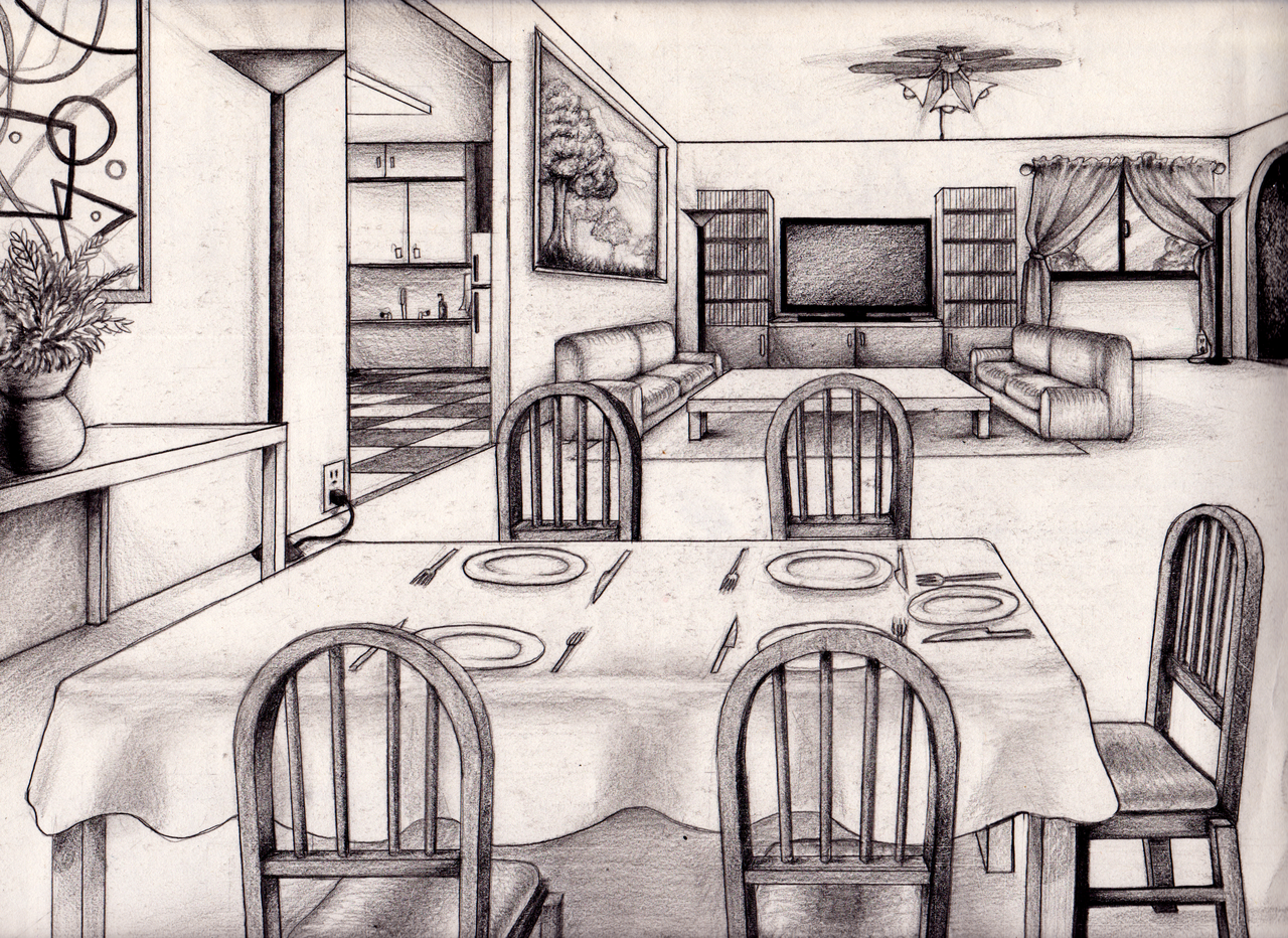 Dining room perspective drawing - One Point Perspective Living Room Drawing Inspiration 61833 Kitchen