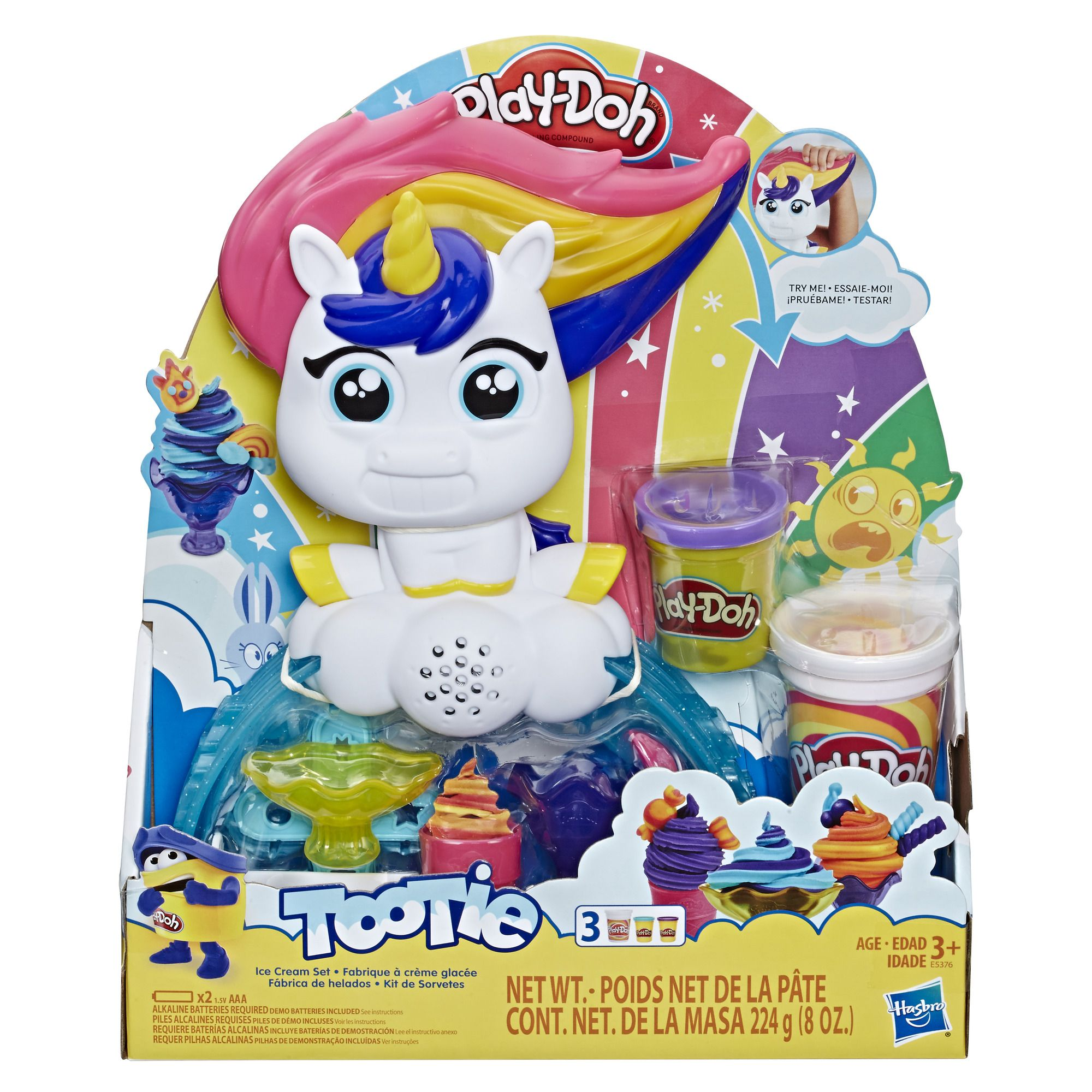 Play Doh Tootie The Unicorn Ice Cream Set 3 Cans Of Color