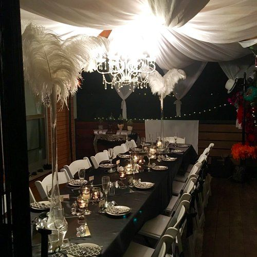 An elegant themed 18th birthday party we set up on a back deck of a