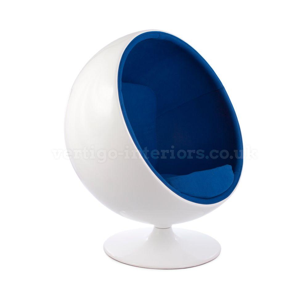 Products | Vertigo Interiors USAEero Aarnio Ball Globe Chair   White Shell,  Blue Fabric |