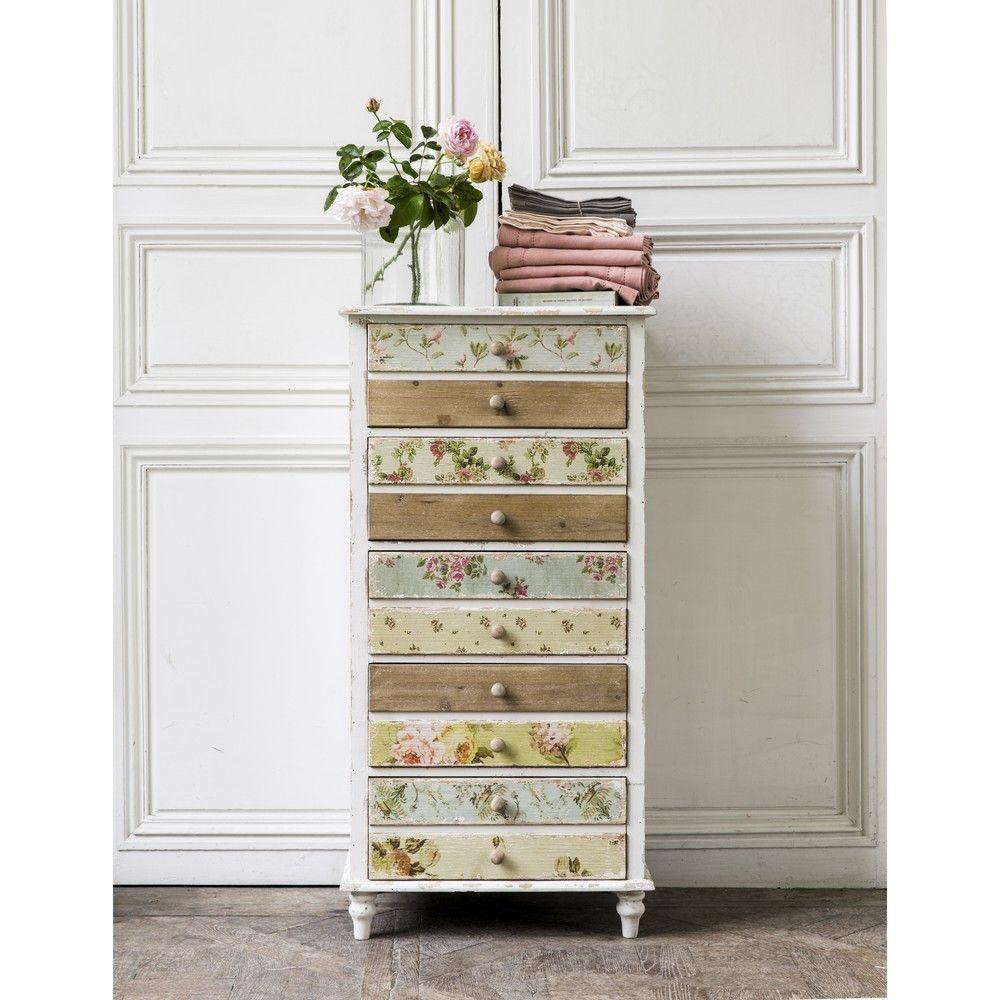 semainier 5 tiroirs blanc imprim floral maisons du monde