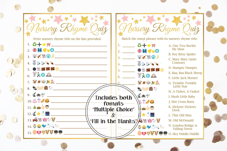 Emoji Nursery Rhyme Quiz Gold And Pink Baby Shower Baby