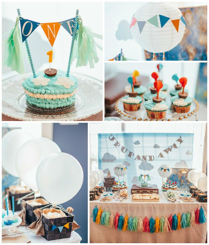Up Up & Away Hot Air Ballon Themed 1st Birthday Party