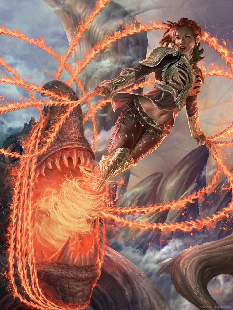 Artist: John Silva - Title: Flaming Girl adv - Card: Unknown