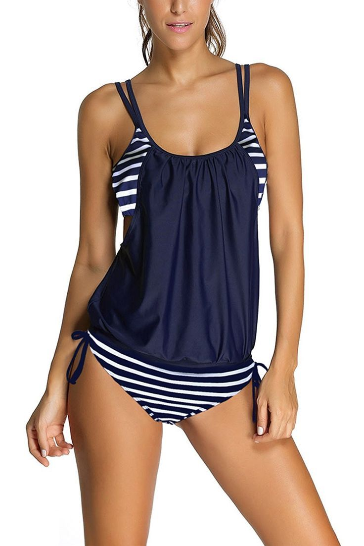 Womens Stripes Lined Up Double Up Tankini Top Set Modest Swimsuits Modest Bathing Suits Women Bathing Suit Striped Swimwear Striped Tankini Swimwear Tankini