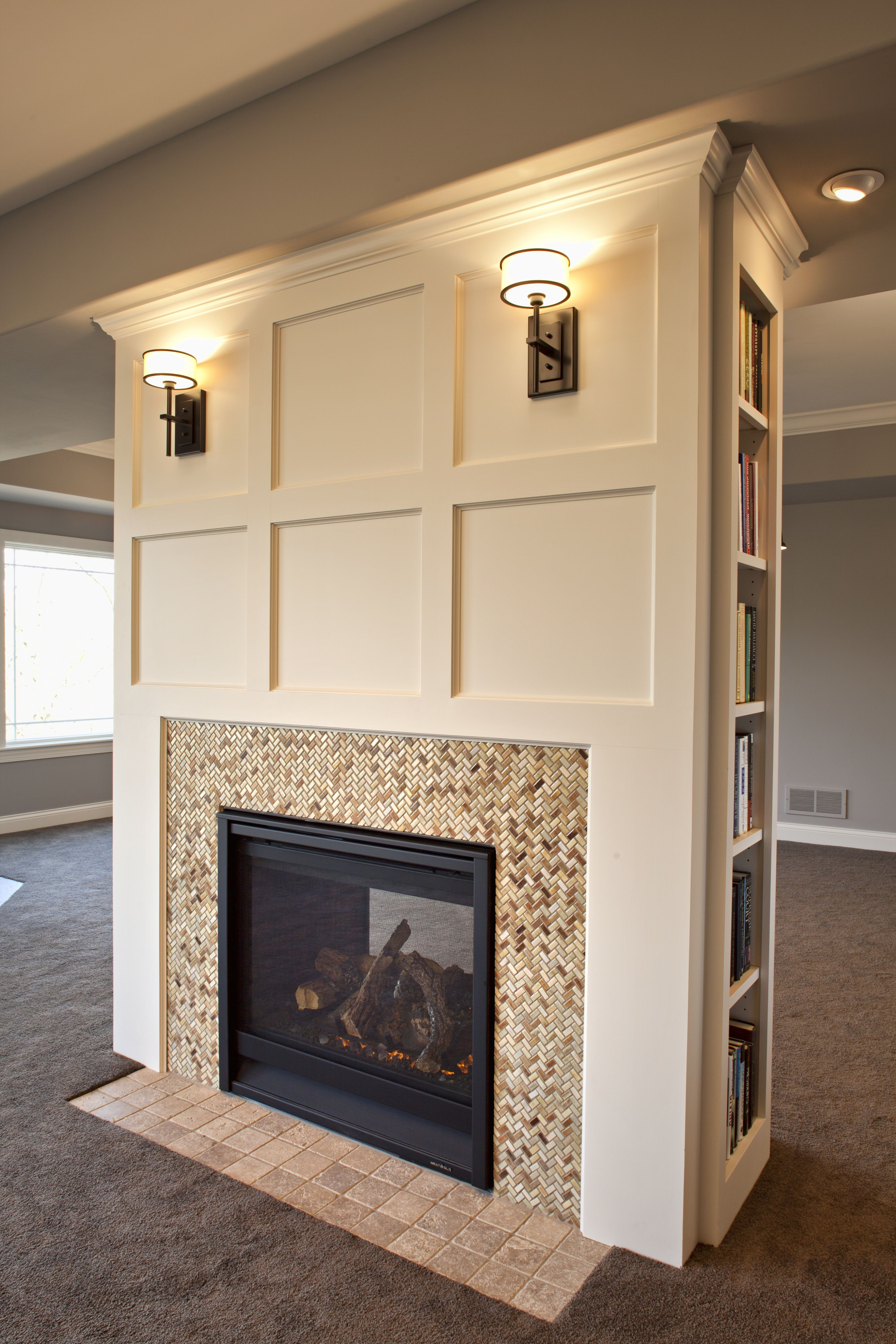 fireplace don t like the tile but love the moulding dining room