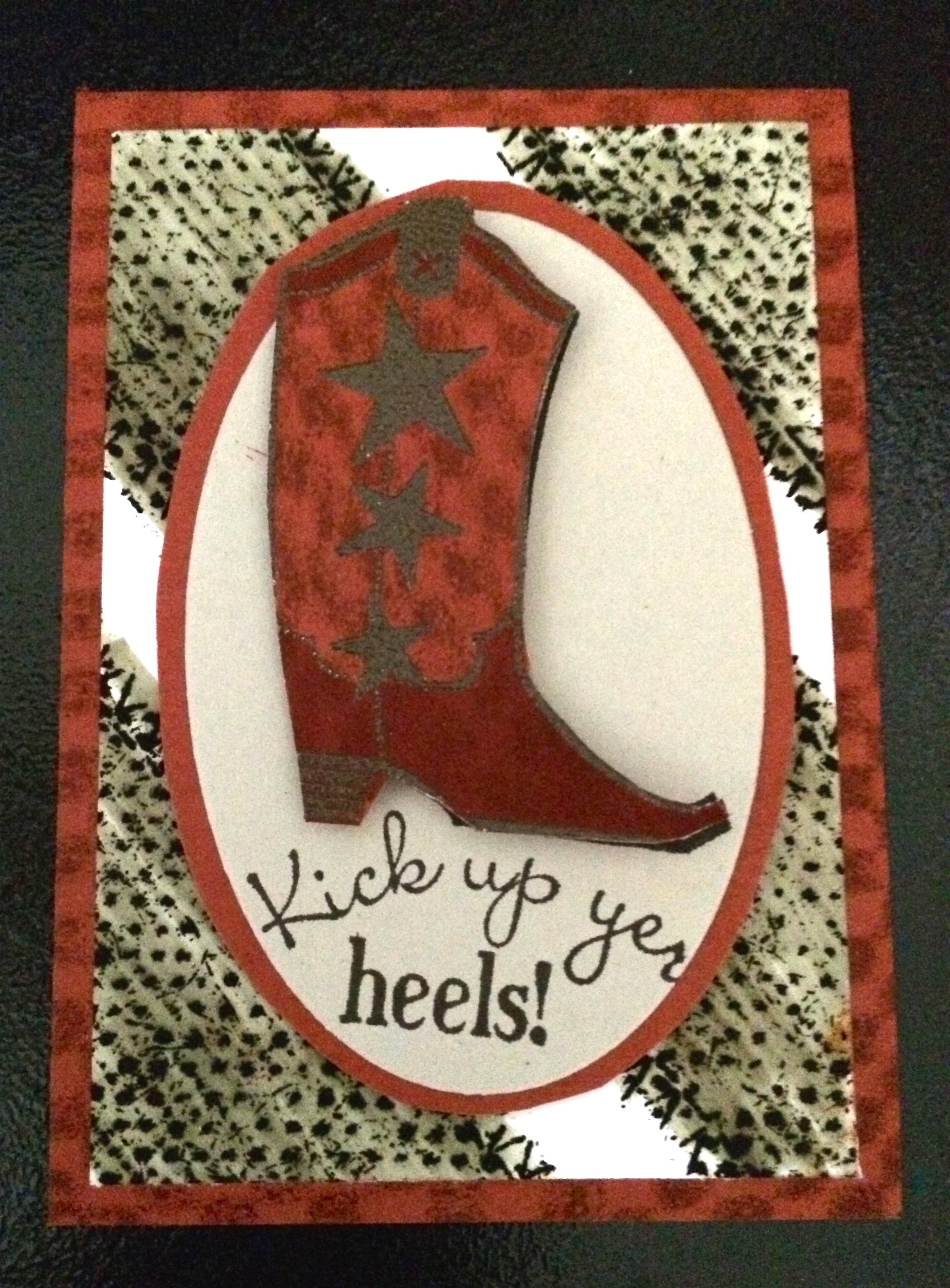 Stampin' Ups! Bootiful Occasions stamp set. I stamped with textured things as well--I used burlap ribbon and foam shelf liner on this ATC.  Cowboy Boot Artist Trading Card.