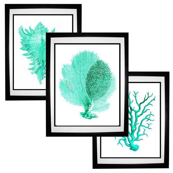Prints Turquoise Art Print Set Nautical Art Aqua Green