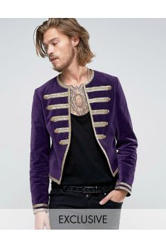 Reclaimed Vintage Velvet Admiral Jacket Purple