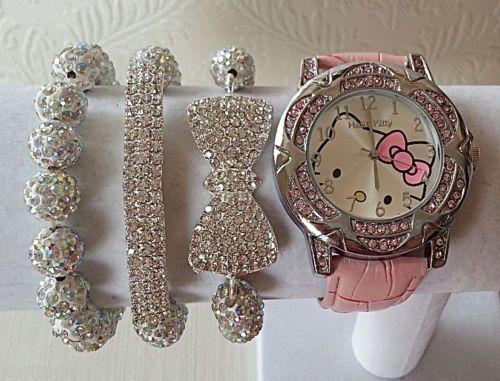 9f1bddd58df740 Pink Silver Hello Kitty Watch Swarovski Shamballa Bracelet Set ...