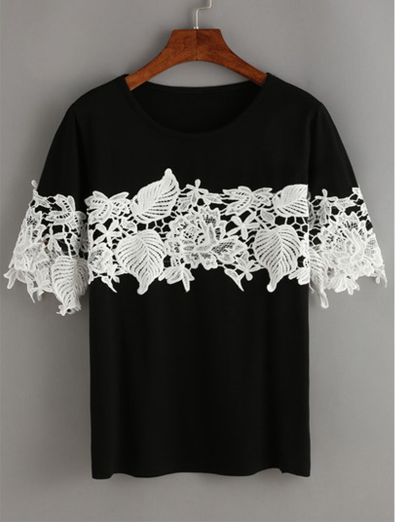 Black Contrast Lace T-Shirt. Black & white can never fade. Designed with