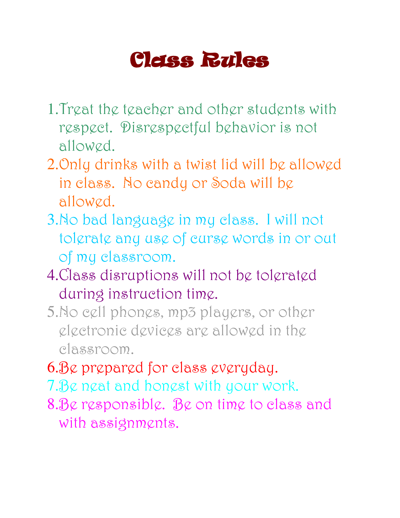 Highschool Art Classroom Rules