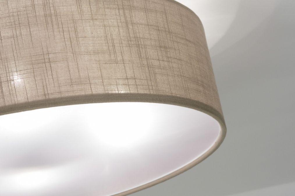 deckenleuchte 71763 modern zeitgemaess klassisch laendlich rustikal braun taupe stoff rund. Black Bedroom Furniture Sets. Home Design Ideas