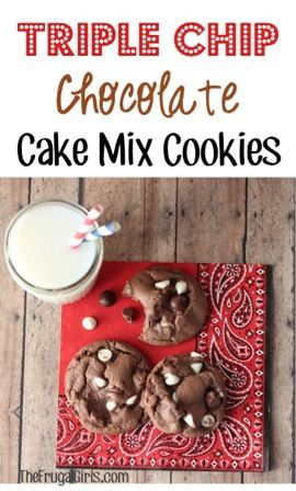 Triple Chip Chocolate Cake Mix Cookies . These things look amazing and perfectly delicious!!!!!!!!!!!!!!!!!!!!!