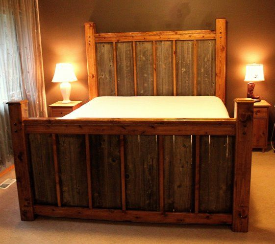 Market Place Custom Rustic Wood Bed Frame Headboard Footboard