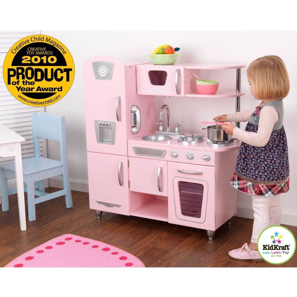 Kitchen Play Set For Girls Pretend Play Wooden Cooking Toy Set Toddler Kids Pink Kidkraft Vintage Kitchen Kitchen Sets For Kids Kids Play Kitchen