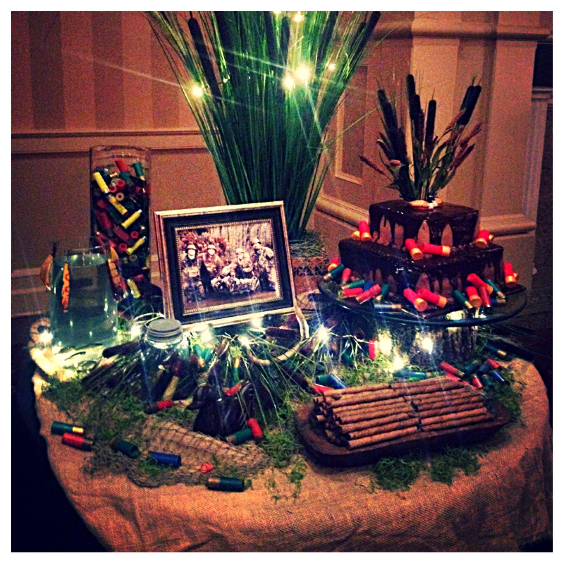 Fishing Wedding Ideas: Groom's Table Hunting Theme- Black Tablecloth, Burlap