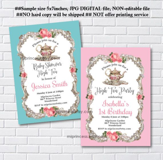 High tea invitation french tea party kitchen tea party bridal high tea invitation french tea party kitchen tea party bridal high tea baby shower any age 1st 2nd 3rd 4th 5th card 1086 stopboris Choice Image