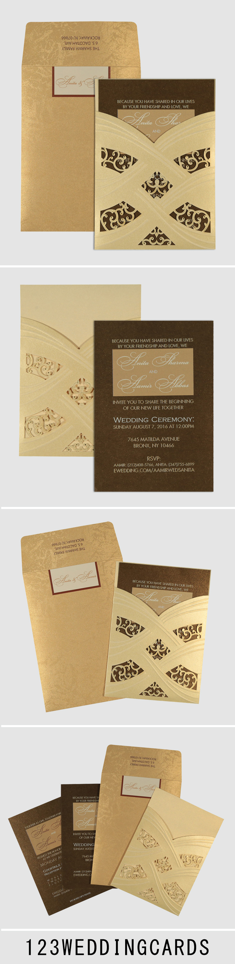 e wedding invitation for friends%0A Ivory shimmery laser cut wedding invitations   d