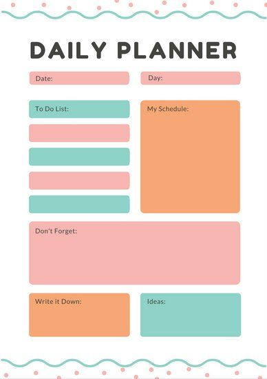 Картинки по запросу mind cards for daily planning Planning - daily timetable template