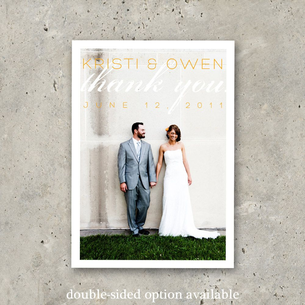 unique wedding announcement ideas%0A wedding thank you photo card    Love is Chic