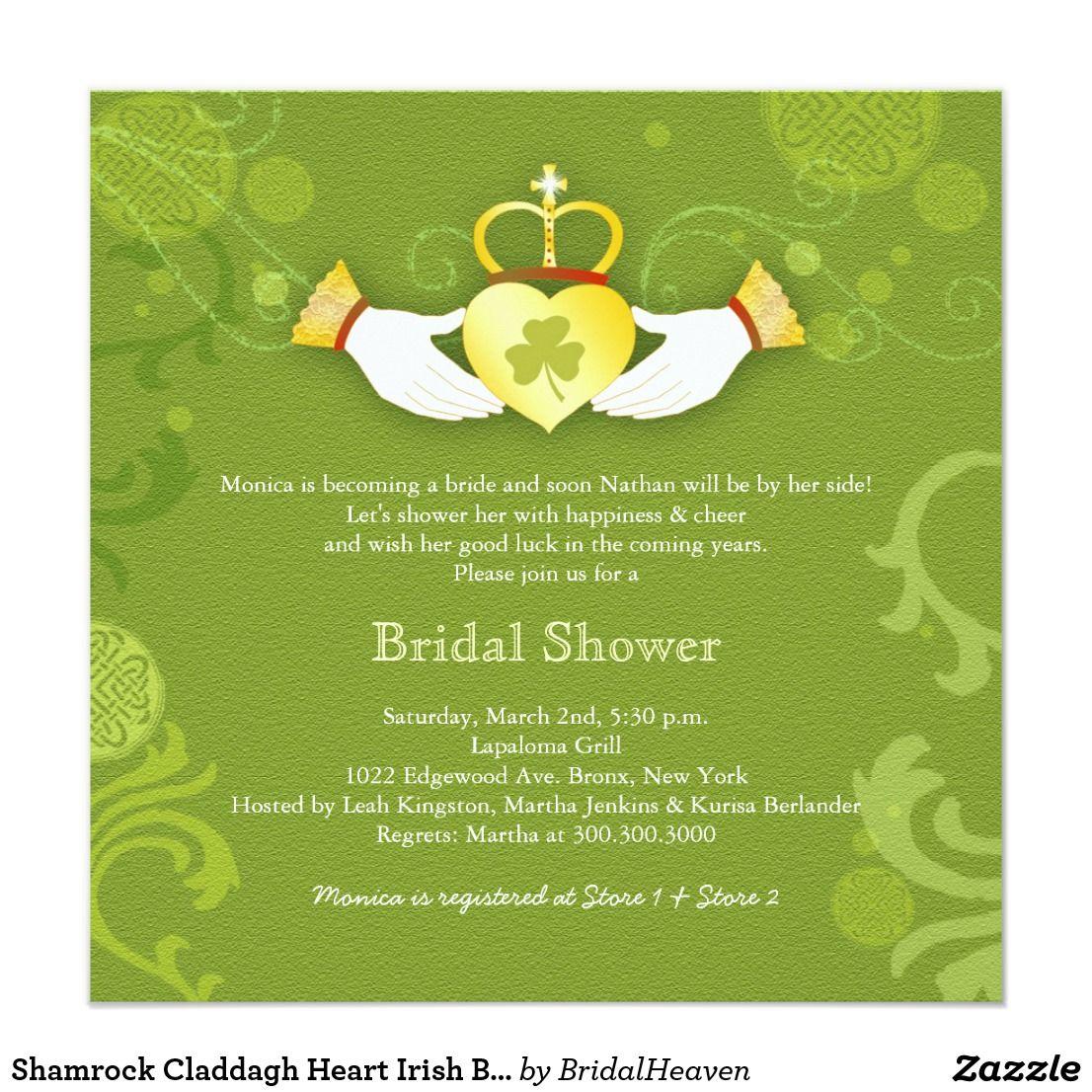 Shamrock Claddagh Heart Irish Bridal Shower Card Bridal Shower