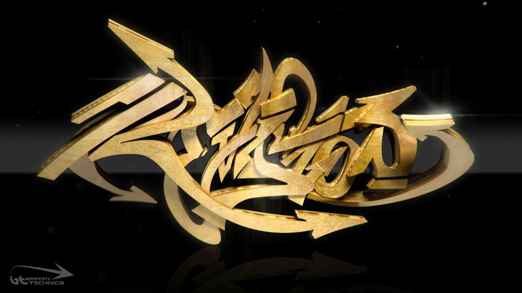 Graffiti 3d gold font hd wallpaper black gold bckp for Gold 3d wallpaper