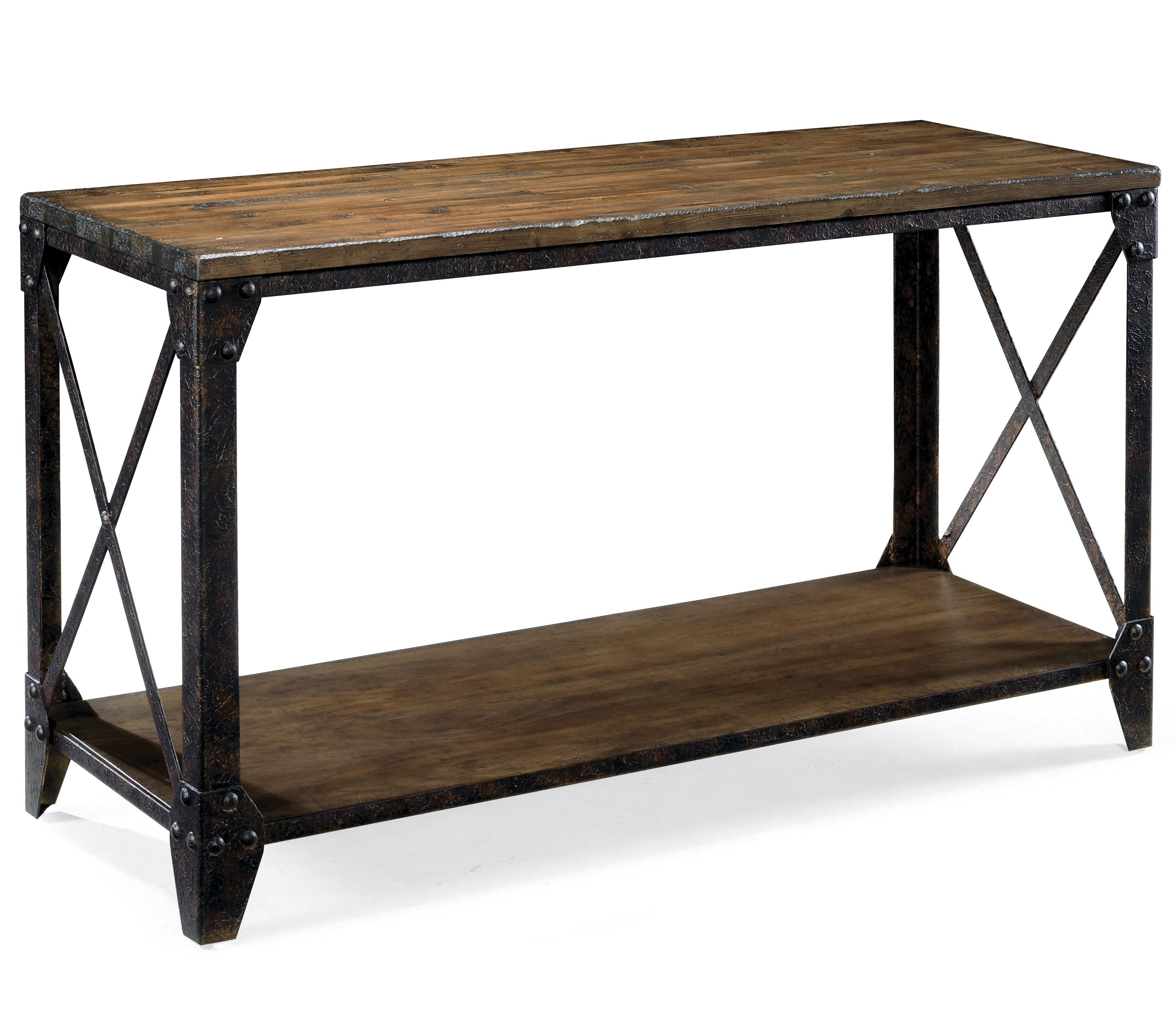 pinebrook rectangular sofa table with rustic iron legs by magnussen rh pinterest com