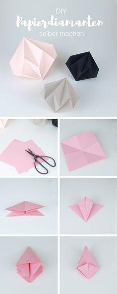 Diy Deko Papierdiamanten Selber Machen Mit Einfacher Faltanleitung