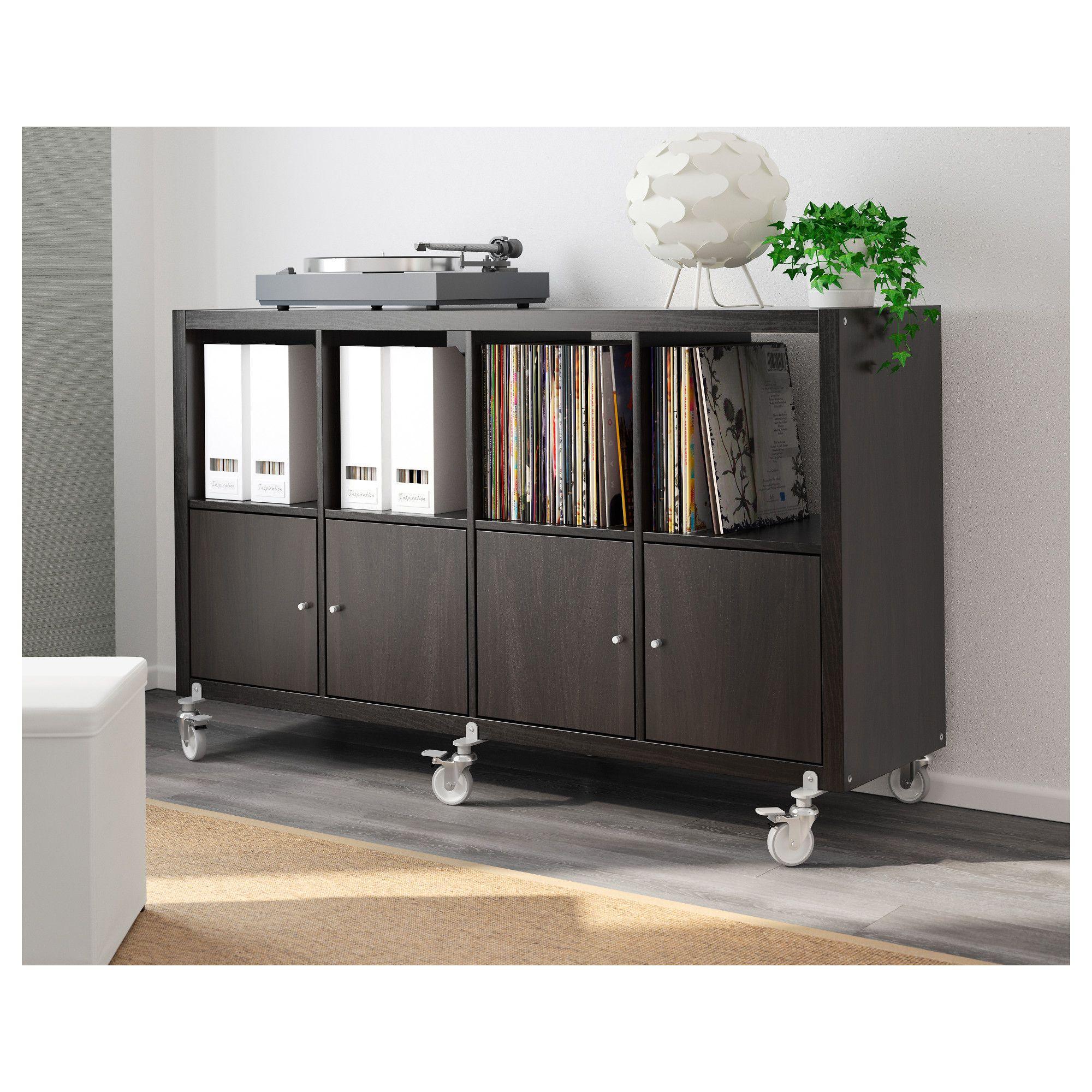 kallax shelf unit on casters with 4 doors black brown home office rh pinterest com