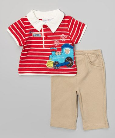 Look at this #zulilyfind! Red & White Train Polo & Khaki Pants by Petite Bears #zulilyfinds