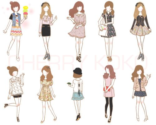 Clothing illustration - I thought these looked sweet and cute.