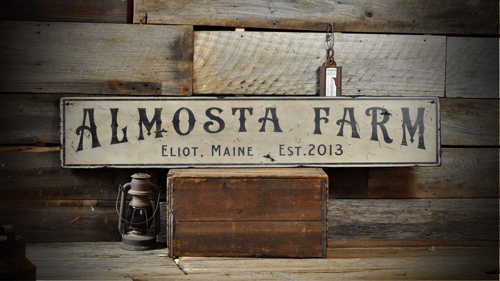 Custom City State Est Date Farm Sign Rustic Hand Made Vintage